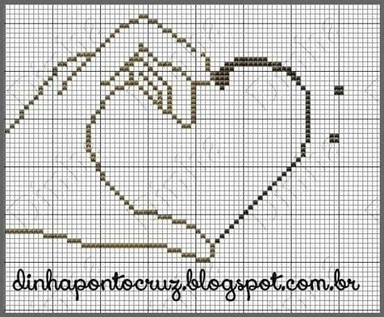 Hand and heart x-stitch