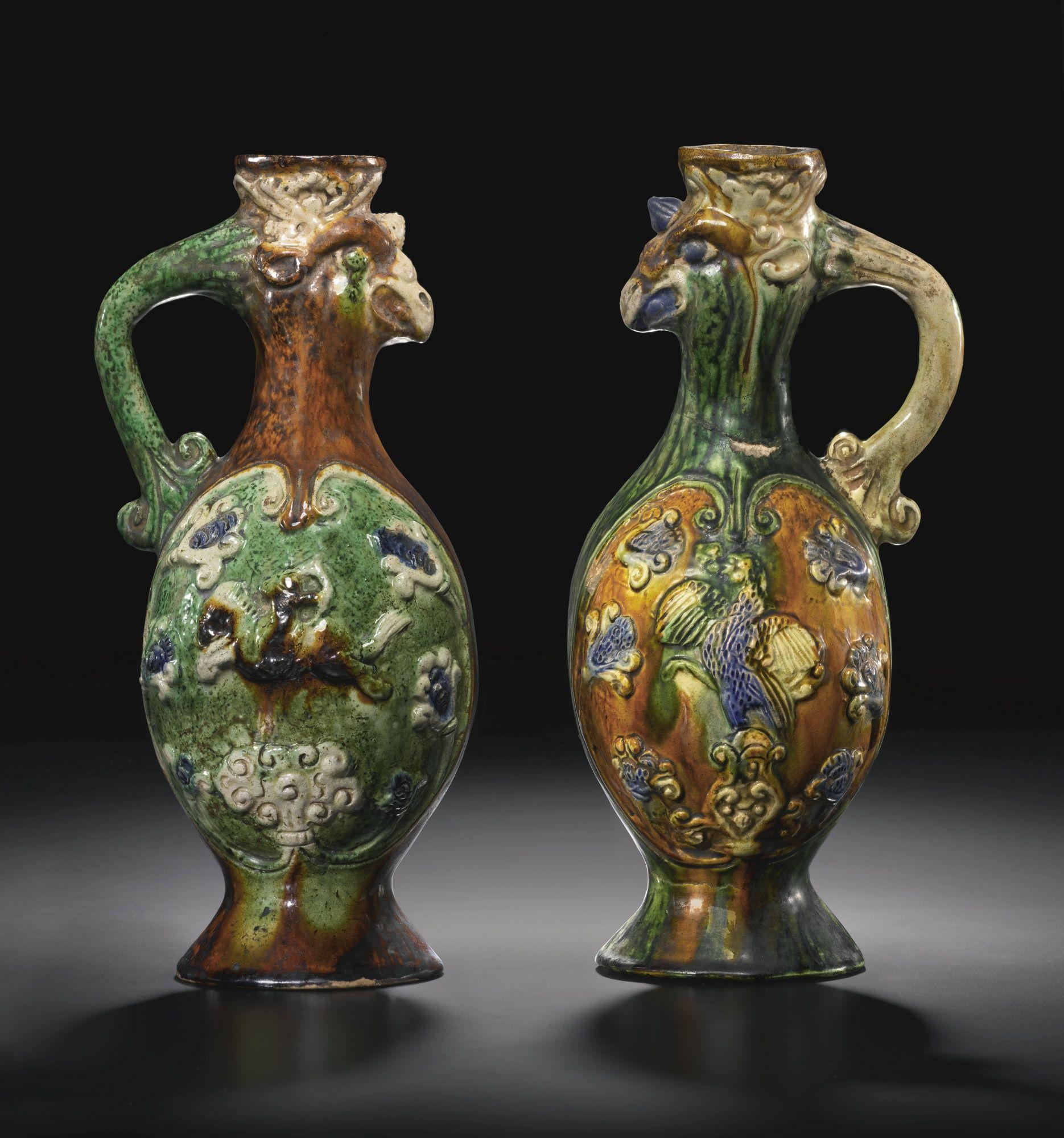 Two tang style sancai glazed pottery phoenix head ewers chinese two tang style sancai glazed pottery phoenix head ewers reviewsmspy