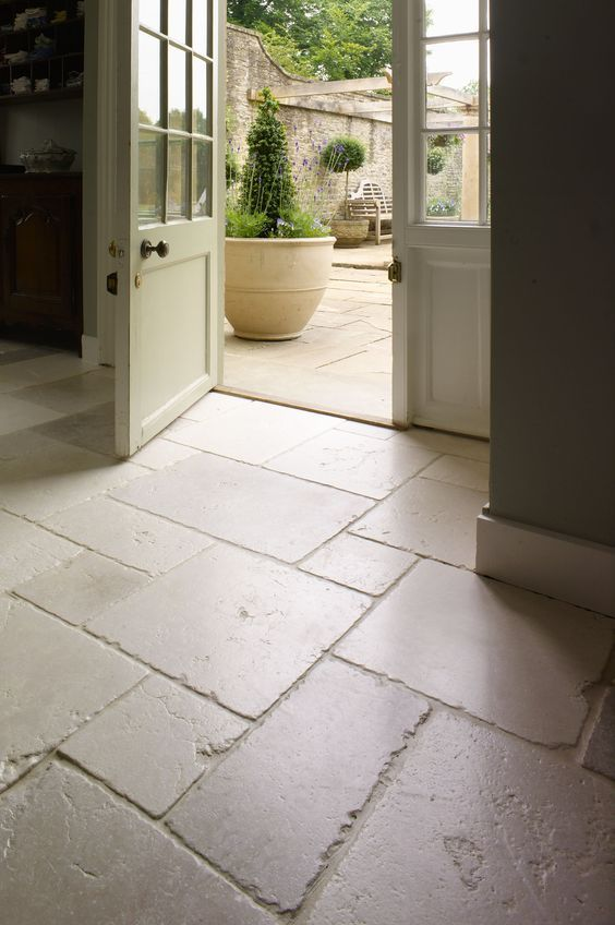 White Tumbled Tile Floor Beautifully Aged Limestone Floors In The Entryway And Outdoors To Antique Stone Flooring Stone Tile Flooring Limestone Flooring