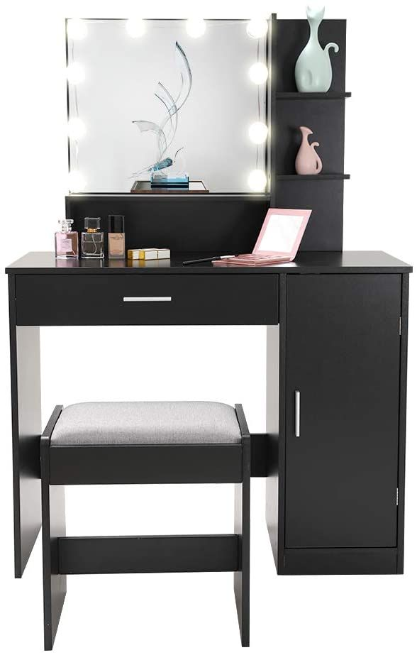 Usikey Vanity Table Set With 10 Light, Black Vanity Set With Light Up Mirror