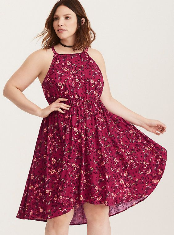 cc07089c5f24 Multi-Color Butterfly Floral Print Challis Hi-Lo Dress, SERAFIN DOODLES I  love the color, the print, and the neckline and back. :) The high/low hem,  ...