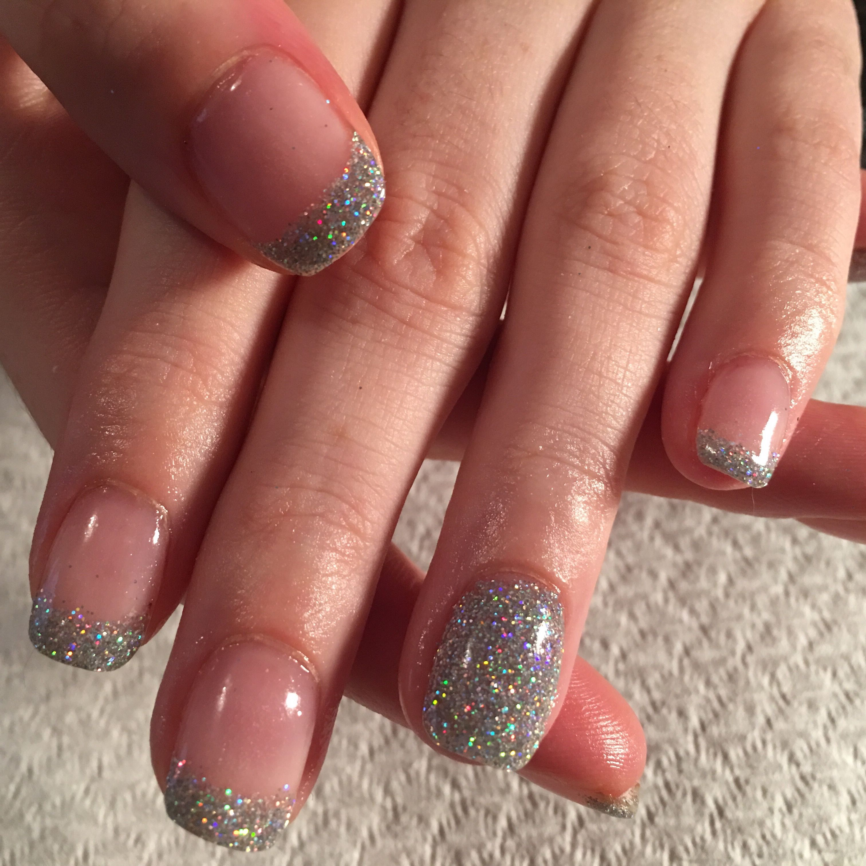 SNS holographic glitter tips with full glitter feature nail. | SNS ...