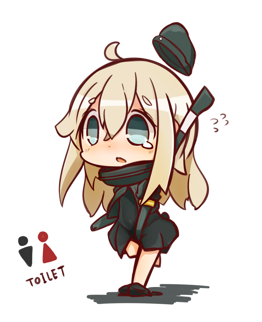 1girl Ahoge Blue Eyes Chibi Commentary Request Covering Covering Crotch Flying Sweatdrops Garrison Cap Hat Have To Pee Ka Chibi Kantai Collection Character Art