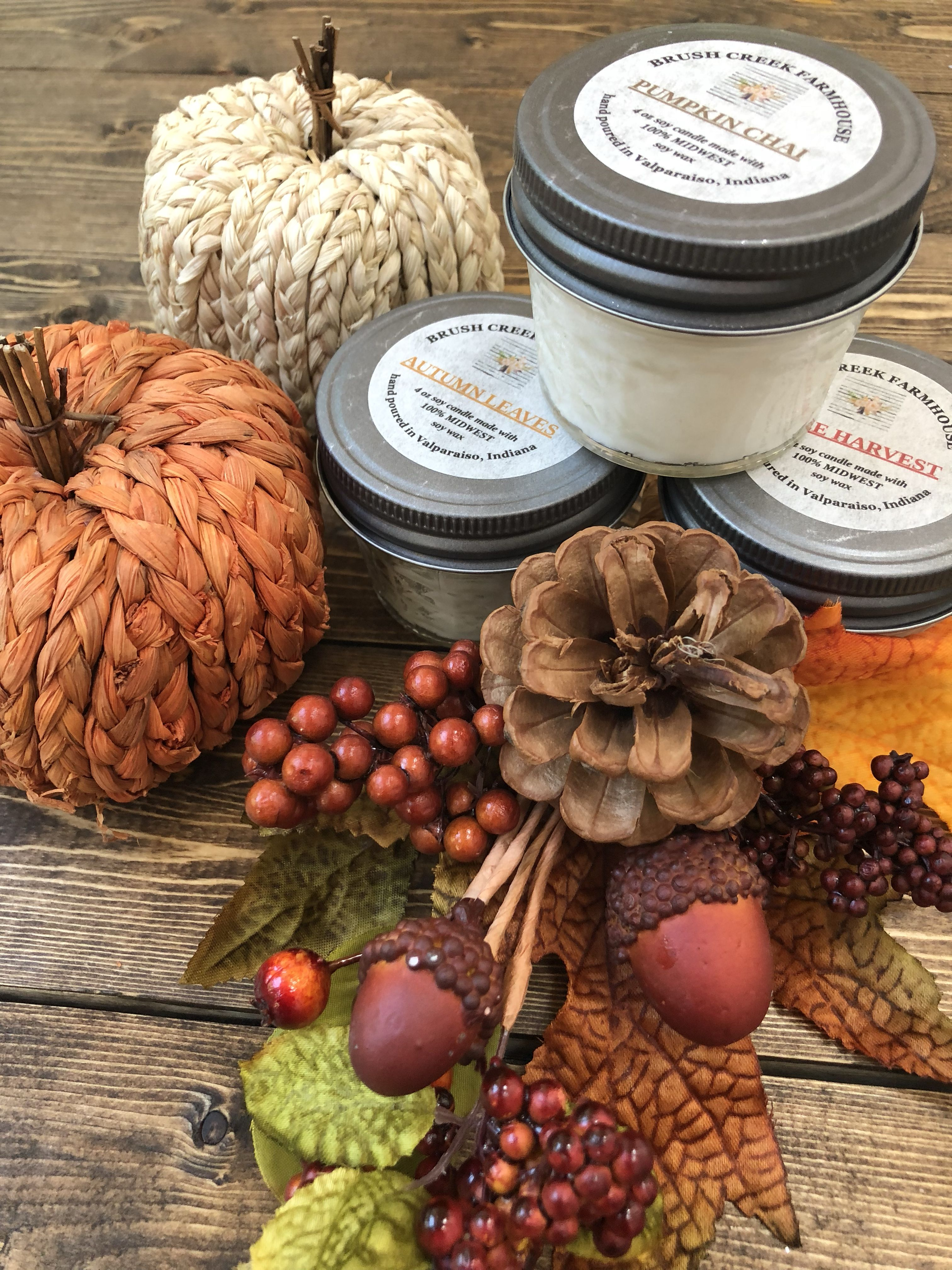 Autumn leaves, pumpkin Chai and apple harvest 4 oz candles made with