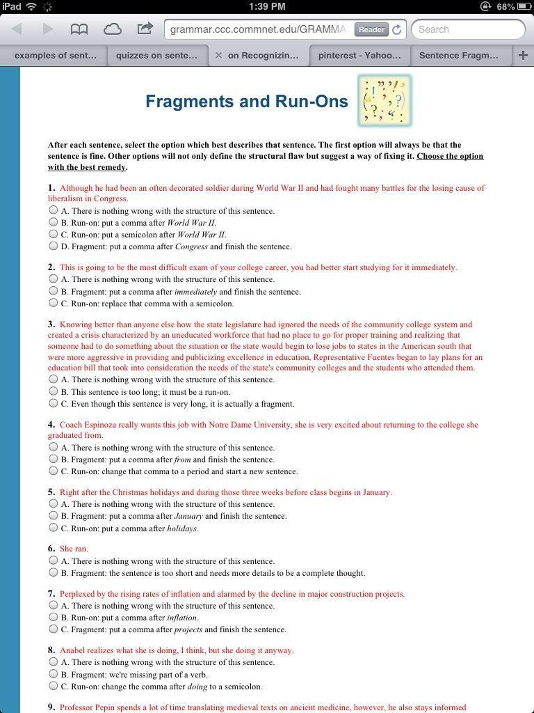 Http Grammar Ccc Commnet Edu Grammar Cgi Shl Quiz Pl Fragments Quiz Htm Sentence Fragments Grammar Worksheets Sentences