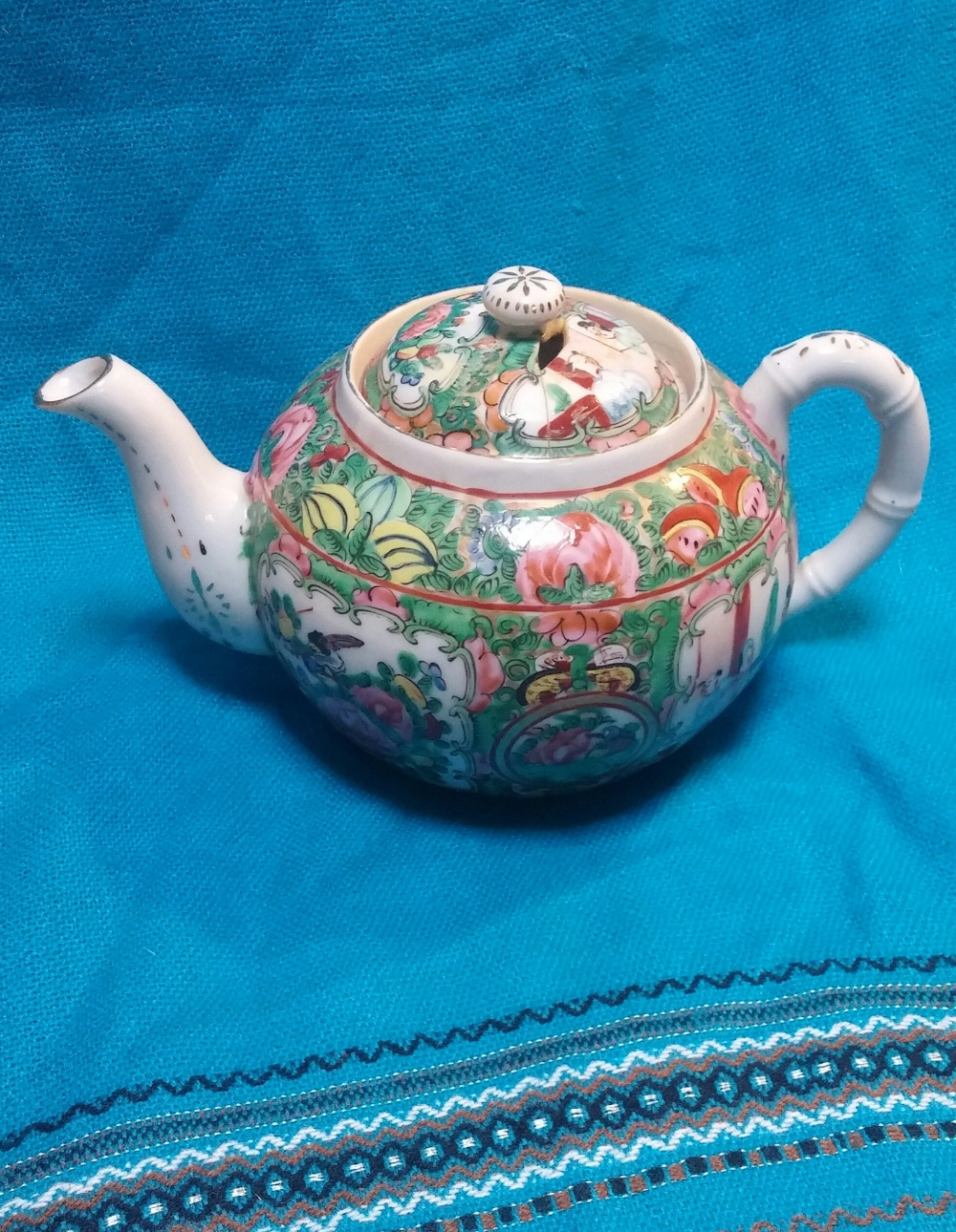 Small Vintage Teapot 12 oz Capacity Brown with Orange Gold and White Accents Floral Designs