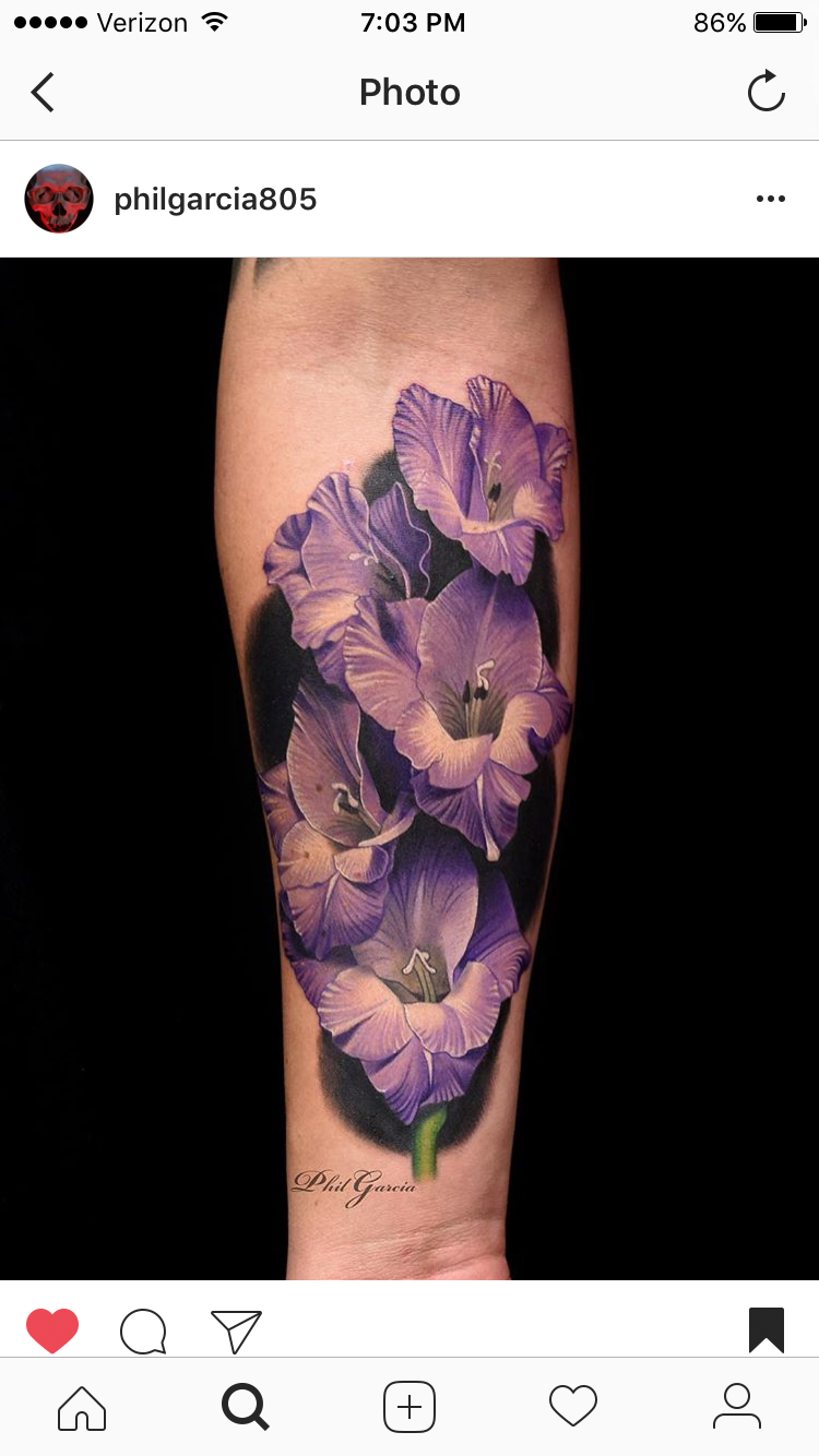 Pin by Mayest on Gladiolus flower tattoos Pinterest Tattoos