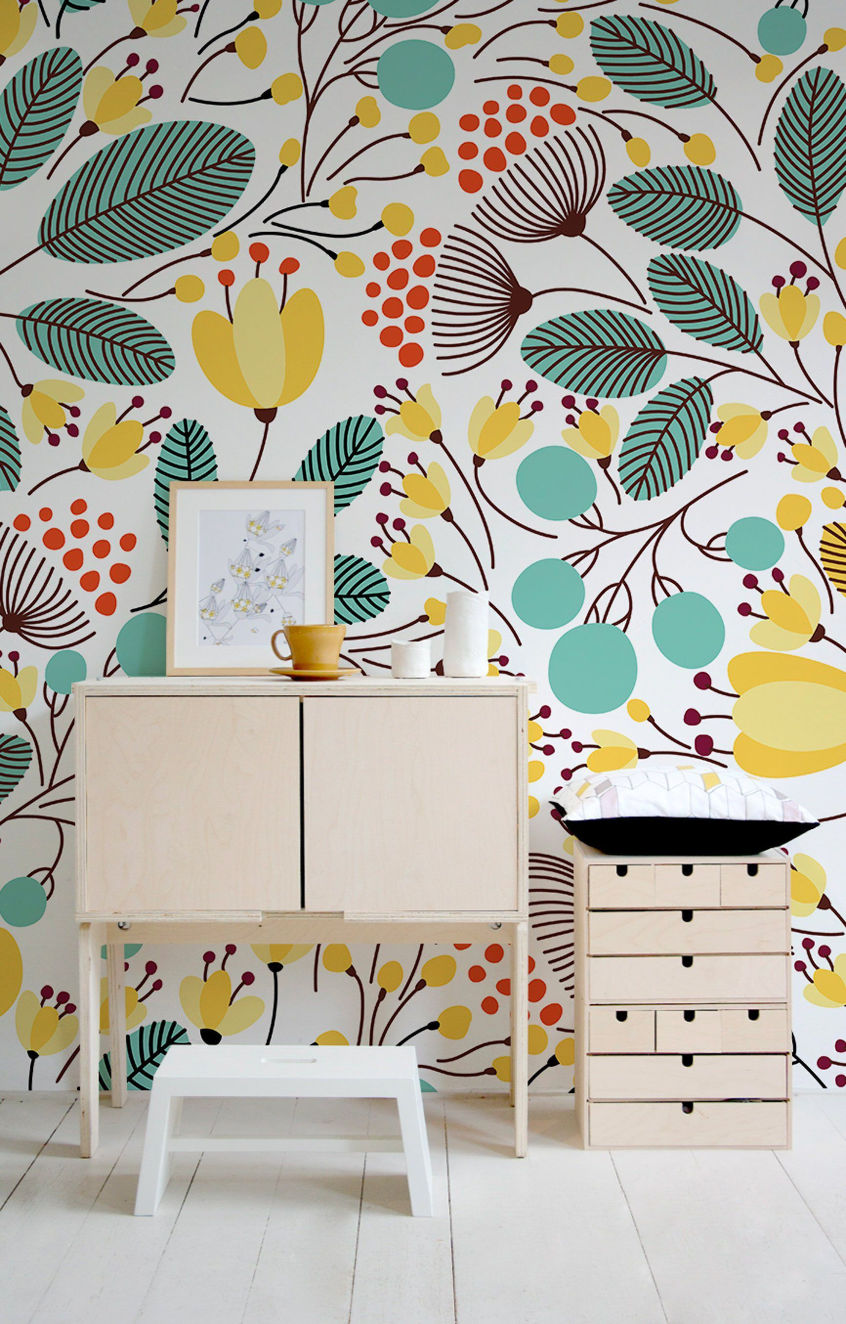Design Home Wallpaper Watercolor Mural Wall Decor