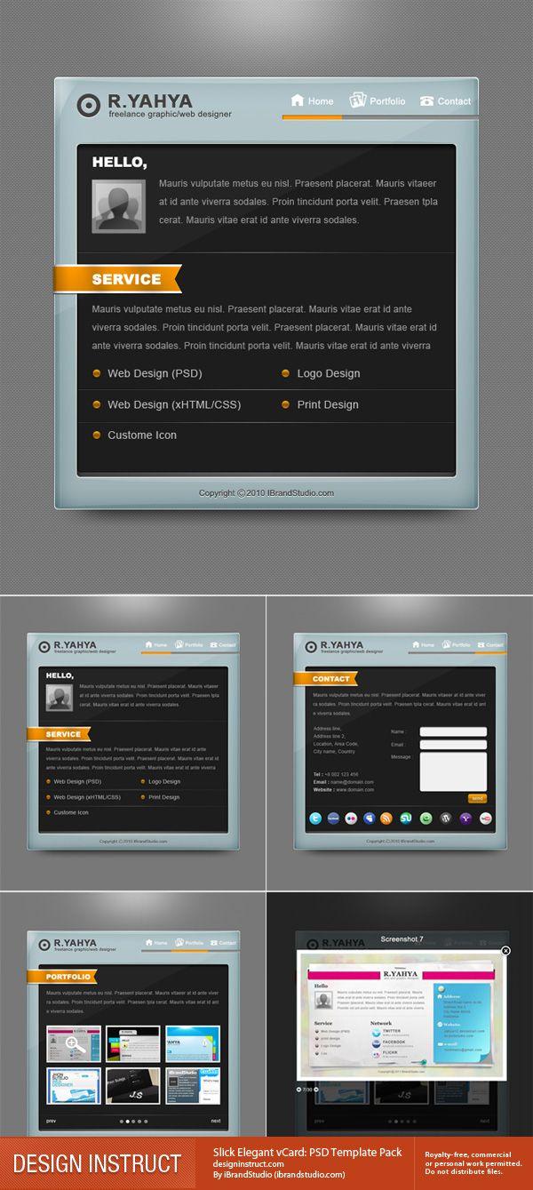 Slick Elegant vCard: PSD Template Pack - Design Instruct | Web ...