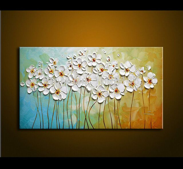Hecho A Mano Con Textura Espátula Blanco Nieve Flores Pintura Al óleo Abstracta Moderna De La Lona Wall Art Pintura Oleo Abstracto Abstracto Flores Abstractas