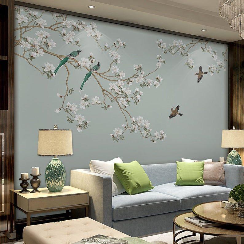 Oriental Plum Blossom Magnolia Birds Wallpaper Wall Murals Etsy Dekoration Wohnung Wandtapete Blumen Wandtattoos