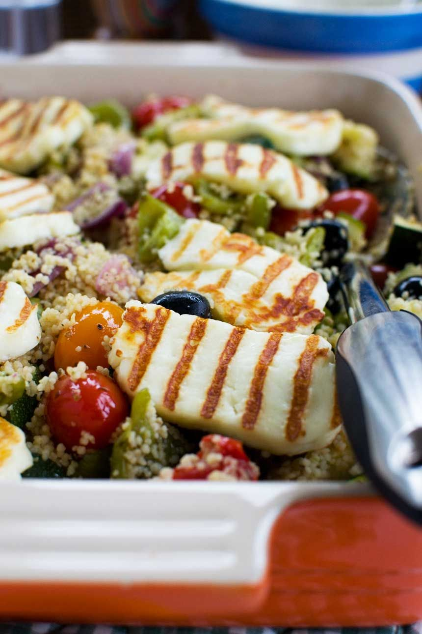 One Pan Greek Couscous With Halloumi