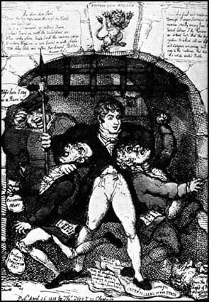 Thomas Rowlandson, did this drawing in 1810 Sir Francis Burdett after he had been imprisoned for his radical beliefs.