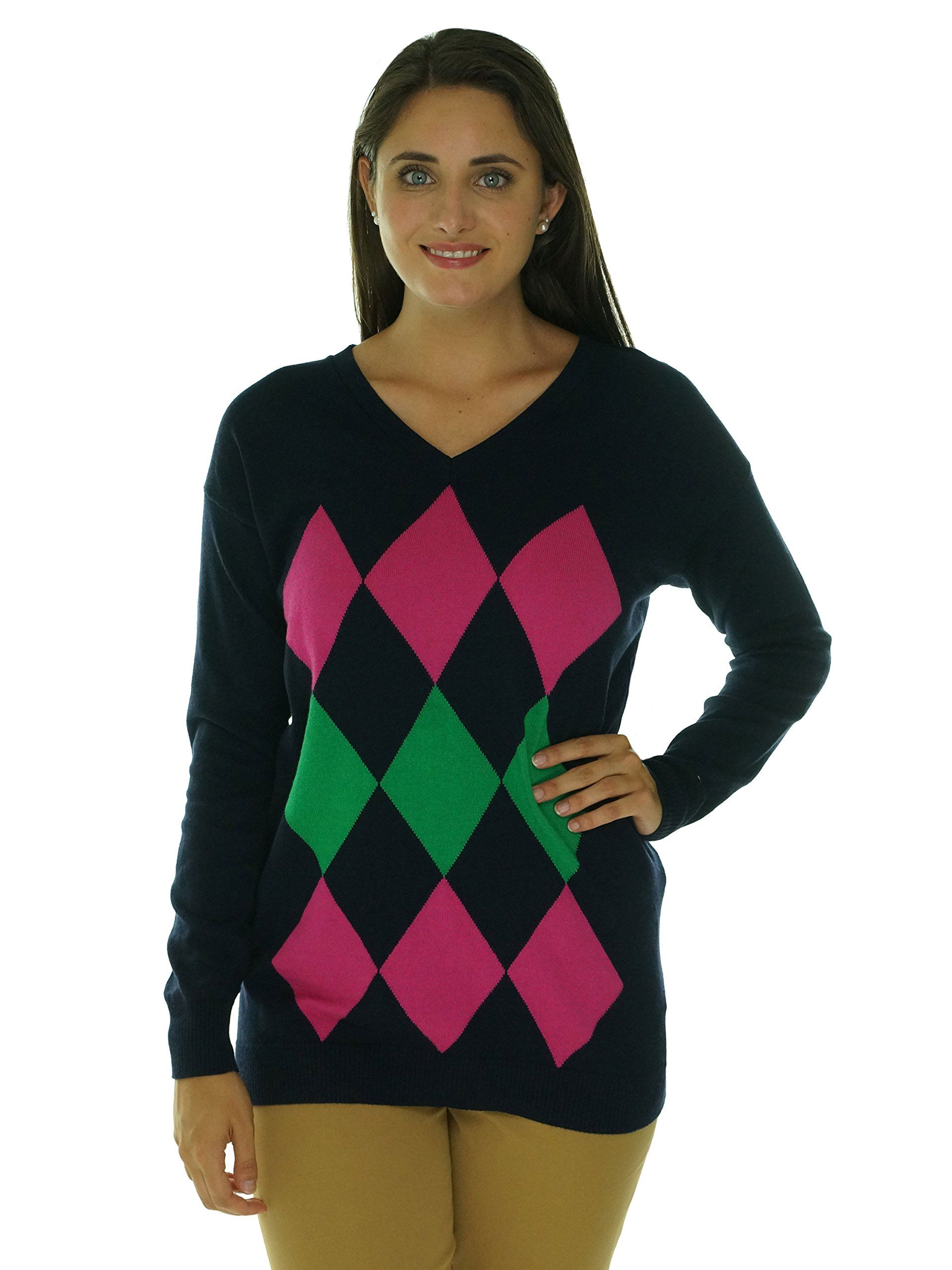 Tommy Hilfiger Women's Argyle V-Neck Sweater (Small, New Masters ...