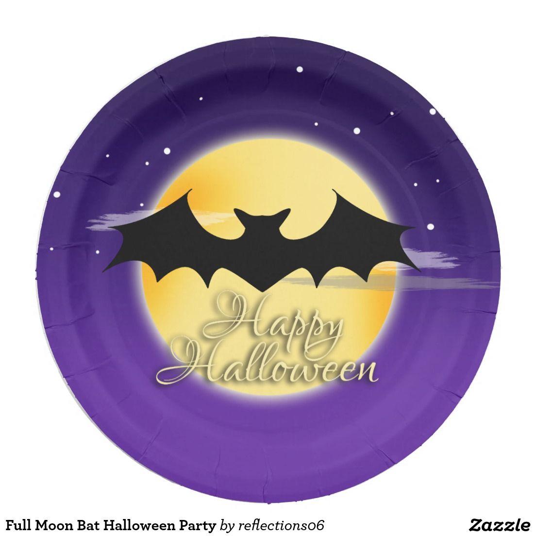 Full Moon Bat Halloween Party Paper Plate   Bats, Halloween party ...