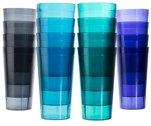 Cafe 20 Ounce Break Resistant Plastic Restaurant Quality Beverage Tumblers Set Of 16 In 4 Coastal Colors Plastic Cups Cookware Set Stainless Steel Cup