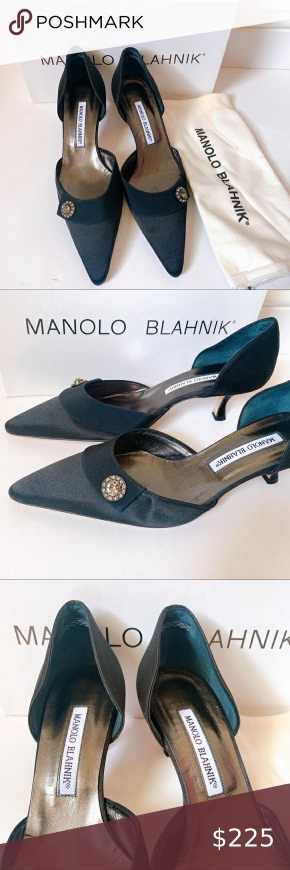 Manolo Blahnik Black Satin Crepe Kitten Heel Manolo Blahnik Black Satin Kitten Heel Never Been Worn Or Tried On In 2020 Manolo Blahnik Kitten Heels Shoes Women Heels