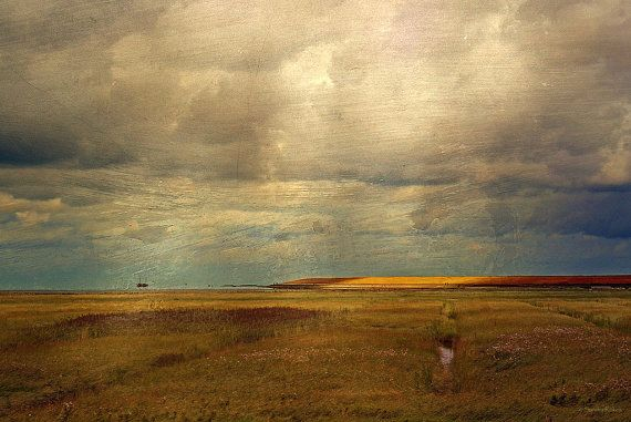 Autumn by the Sea; Fine Art Photography - Landschaft, Meer, Nordsee, Wolken, Natur, Echtheitszertifikat, Hologramm, Dünen, Textur