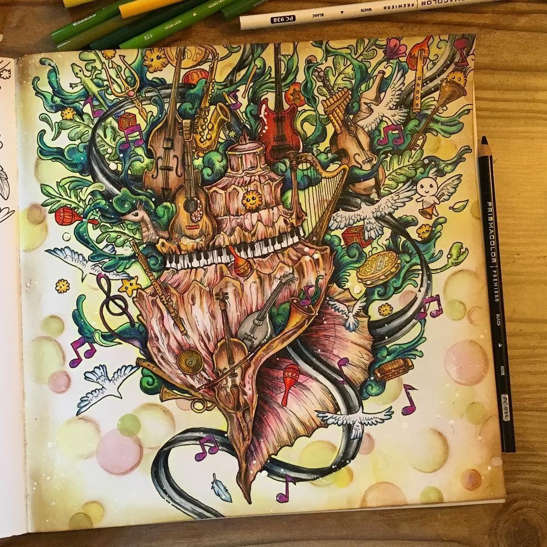 Finished page in Imagimorphia, had a fun time coloring ...