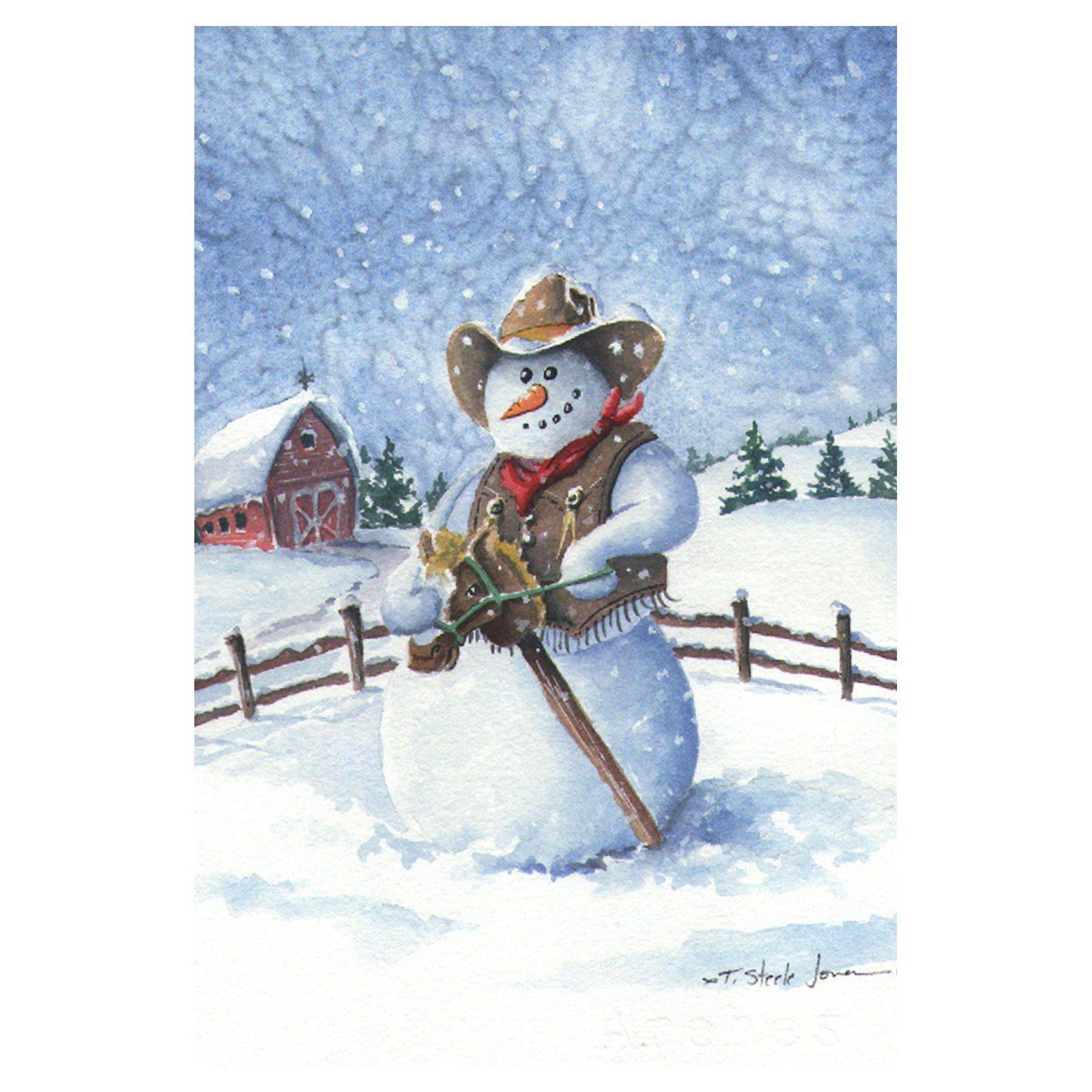 Toland Home Garden Cowboy Snowman Flag - 119740