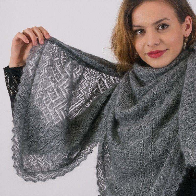 оренбургский вязаный платок спицами