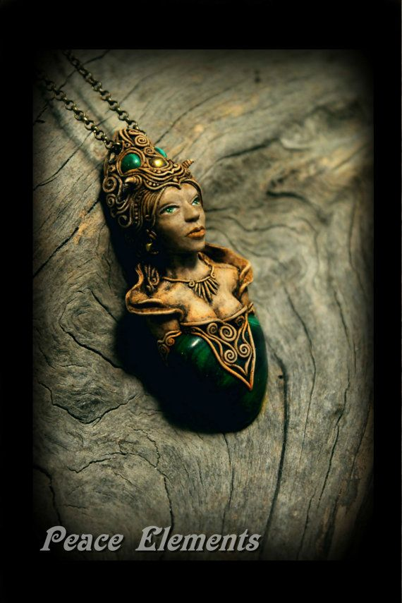 Forest Goddess Hand Sculpted pendant with Malachite gemstone