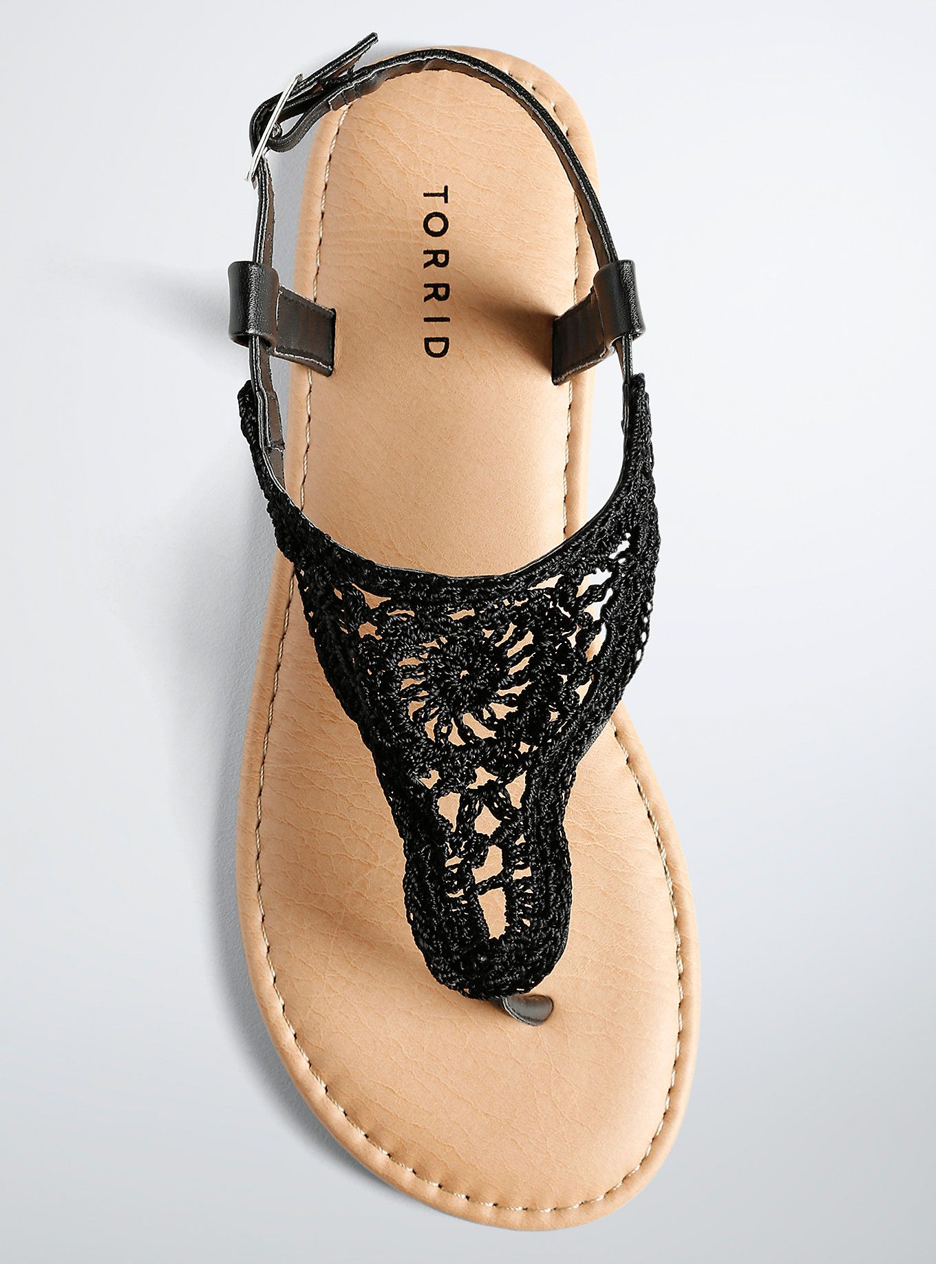 Womens sandals in wide width - Crochet T Strap Sandals Wide Width Black