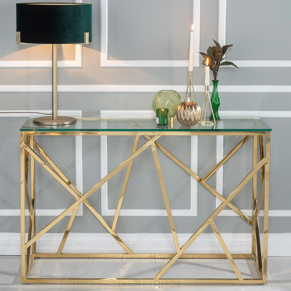 Urban Deco Maze Console Table Glass And Stainless Steel Gold Table Decor Living Room Iron Furniture Design Gold Console Table
