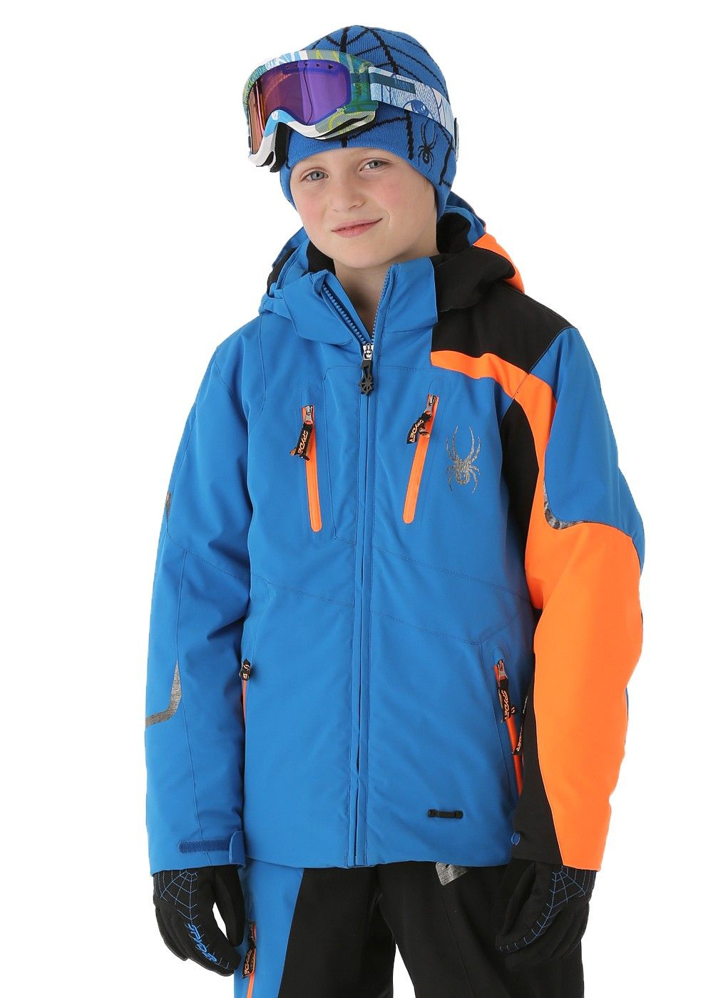 new product cffbb b73e7 Spyder Boys Avenger Jacket (Collegiate/Black/Neon Orange ...