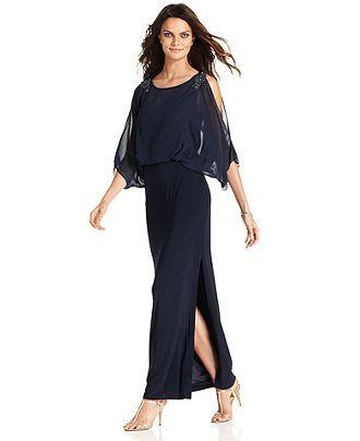 Xscape Petite Dress, Short Split Sleeve Beaded Evening Gown ...