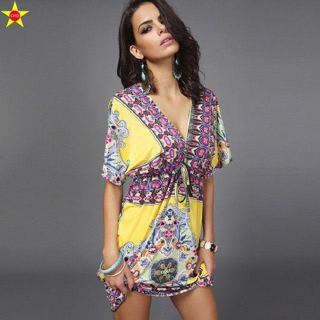 52d12a8508e Boho Style Summer Women Dress Sexy Sundresses Deep V Ethnic Floral Print  Tunic Beach Dresses Plus Size Casual Silk Dresses