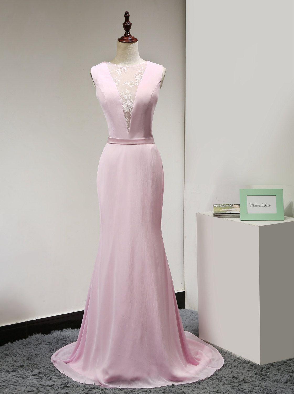 Pink lace prom dressmermaid prom dressmodest prom dresssleeveless