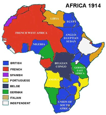 Map of Africa in 1914. Travel to AFRICA with GONDWANA DMCS   your