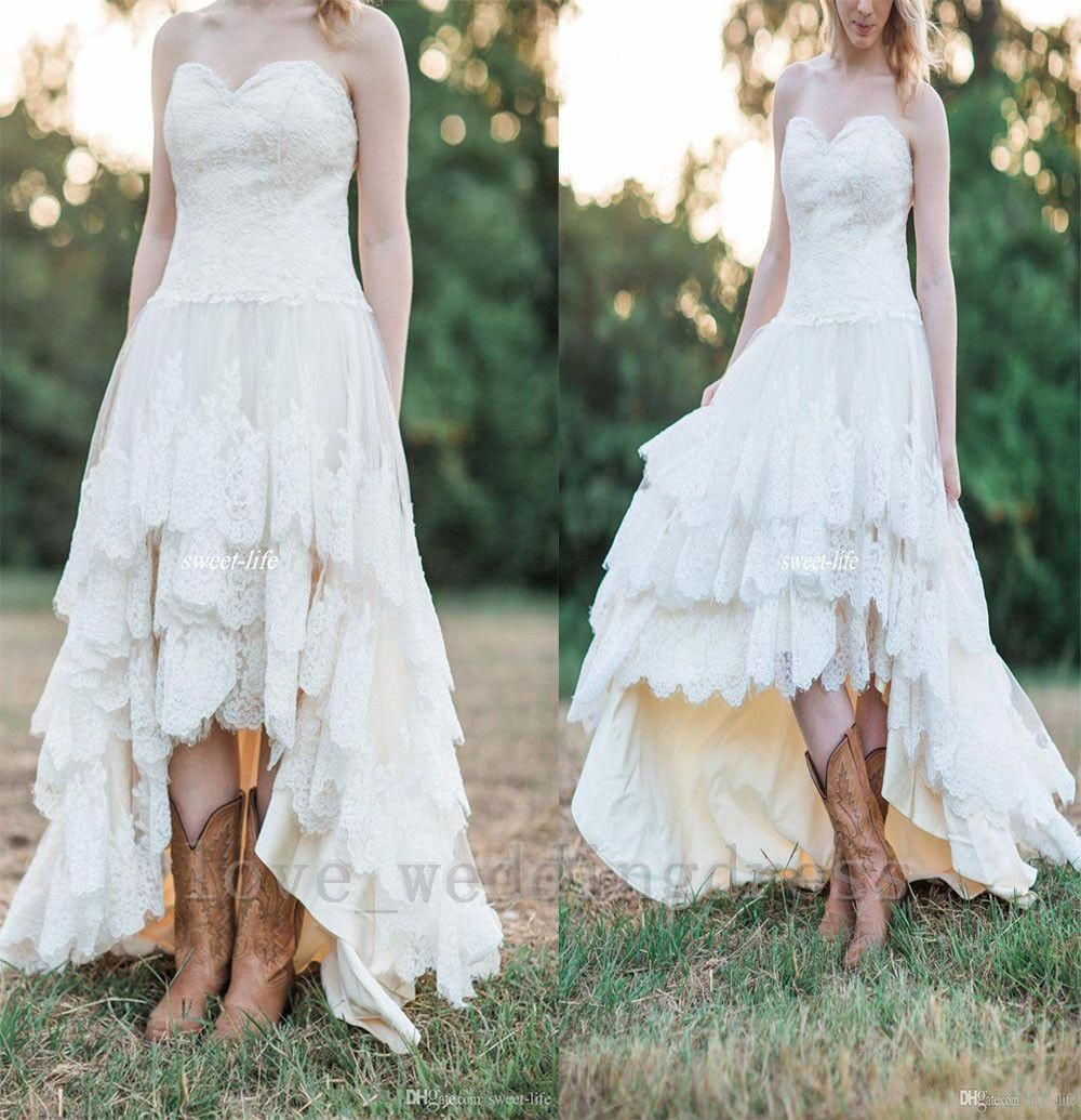 Lace High Low Country Wedding Dresses Tiered Bohemia Beach Bridal Gown Plus2 26w Bridalcollection Rustic Wedding Dresses Bridal Ball Gown Fall Wedding Dresses [ 1035 x 1000 Pixel ]