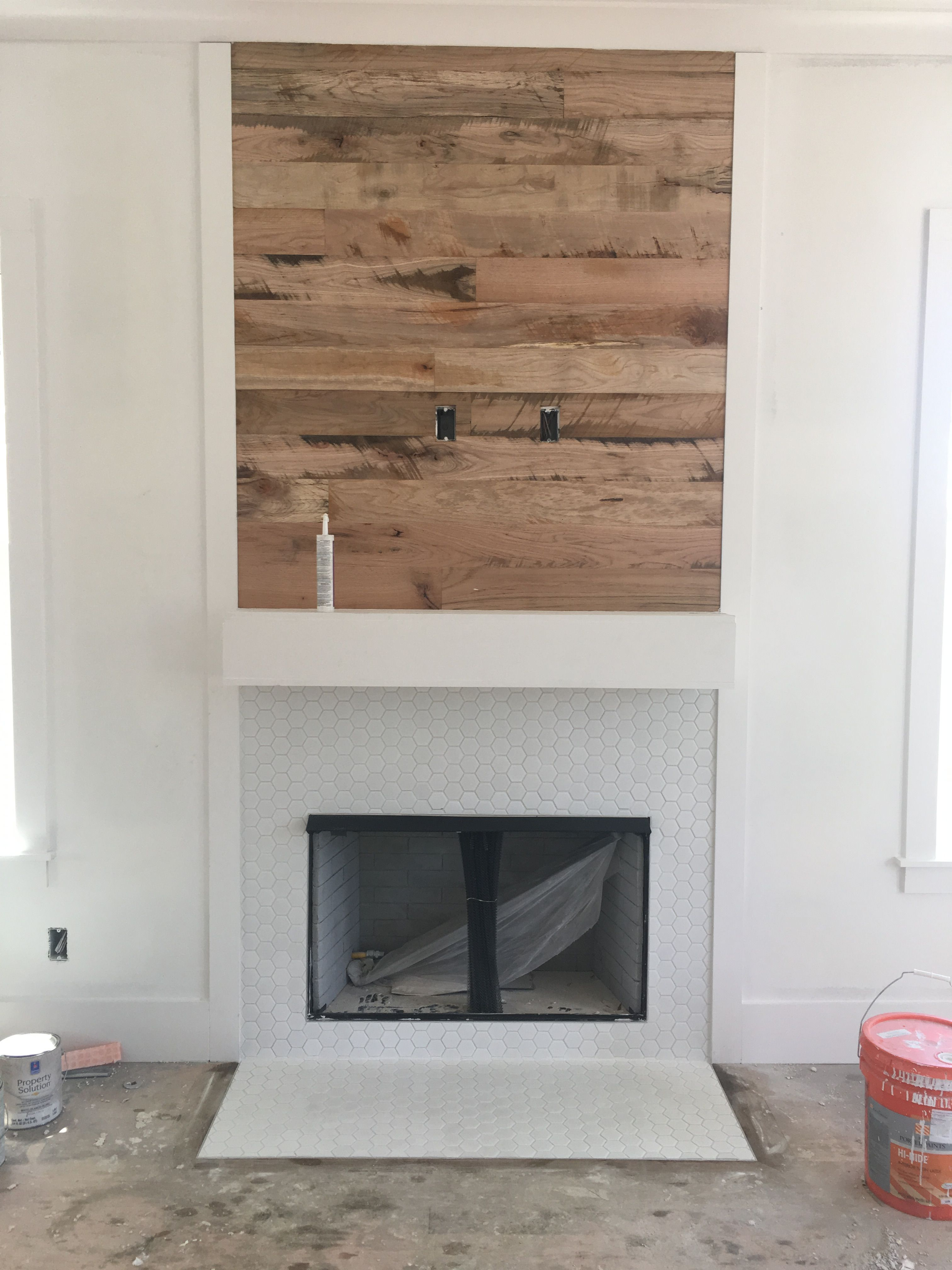 Barnwood Fireplace With White Hex Tile Surround Fireplace Accent
