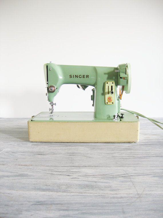 Vintage Green Singer Sewing Machine Model 185J