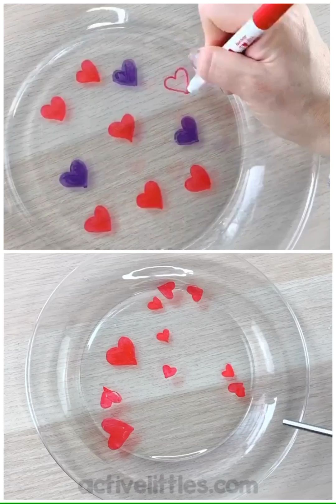 This easy 2 ingredient science experiment is so much fun! I set it out themed for Valentine's Day for my preschooler and kindergartener! I used a dry erase marker to create the hearts and water for them to magically move around! Super easy and so much fun for kids! Enjoy!