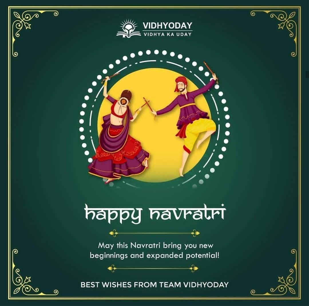 May this Navratri bring you new beginnings and expanded potential! Team Vidhyoday wishes you a very happy Navratri!! #navratri #navratrispecial #garba #india #durga #durgapuja #dandiya#falahar #navratriwishes