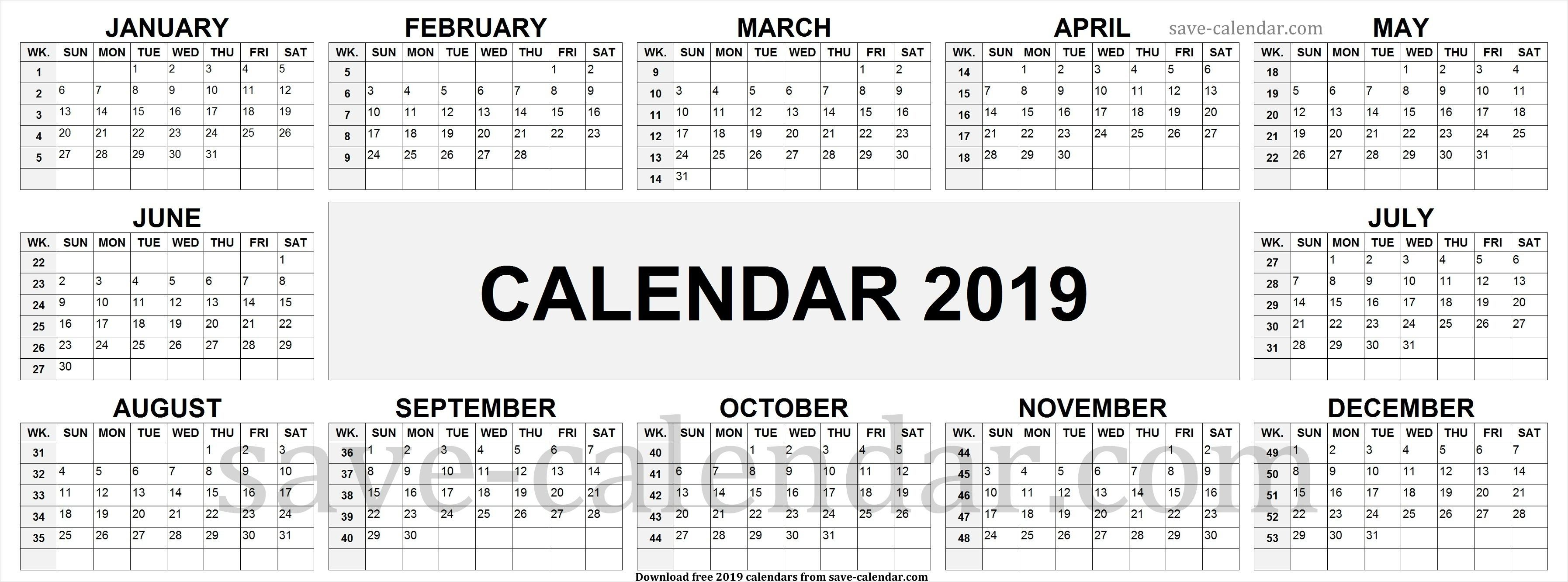2019 Calendarweek Numbers Calendar 2019 With Week Numbers Make