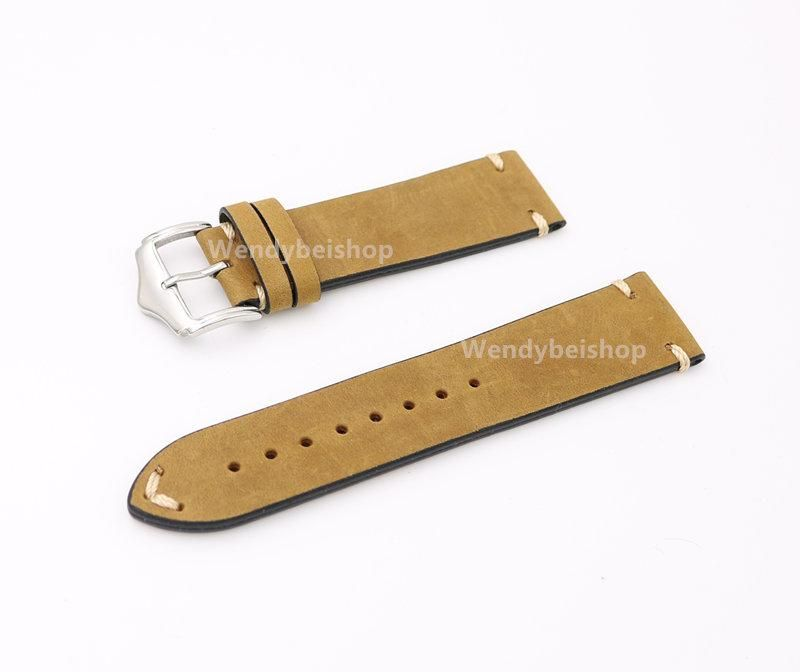 6b542ee9ab3 CARLYWET 20 22 24mm Real Calf Leather Light Brown Suede VINTAGE Replacement  Wrist Watch Band Strap Belt Silver Polish Pin Buckle