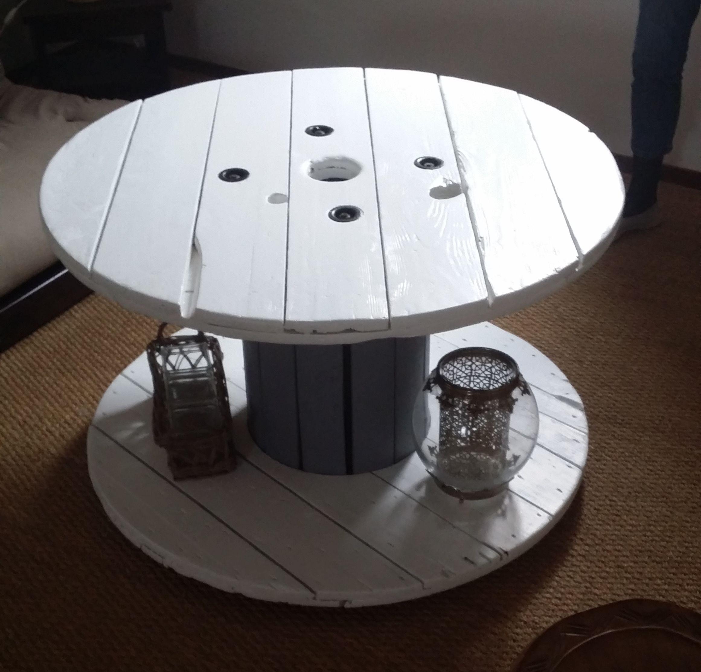 table basse bois cr e partir d 39 un rouleau de fil lectrique projet eben pinterest. Black Bedroom Furniture Sets. Home Design Ideas