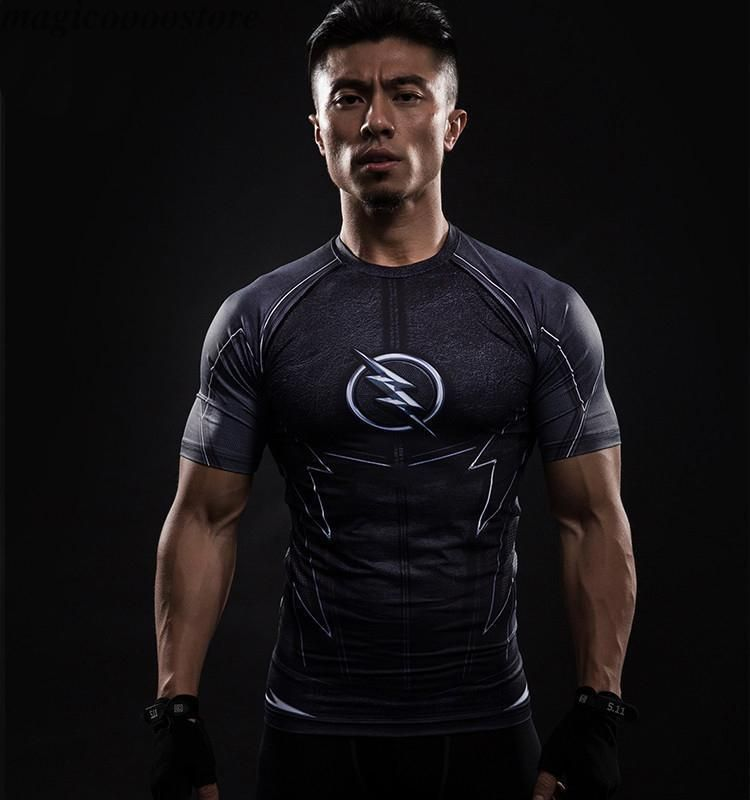 f98db2cf72c962 The Flash 3D Printed T-Shirts Short Sleeve Gym Fitness Tight Elastic Muscle  Tops