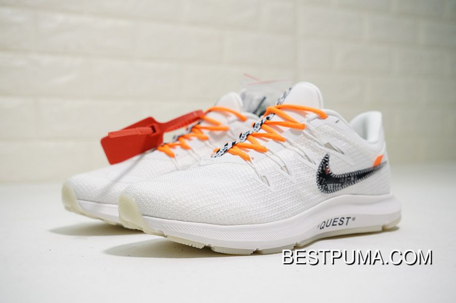 aeb89838356ef Off-White X Nike Quest OW White Orange AA7403-106 Mens Running Shoes ...