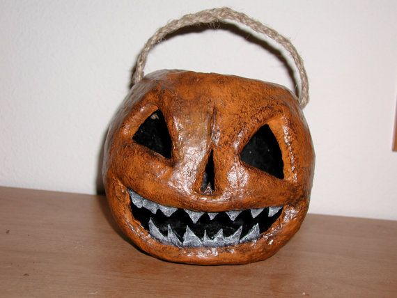 Paper Mache Pumpkin  Halloween Scary by DalmatianCreations on Etsy, $59.99