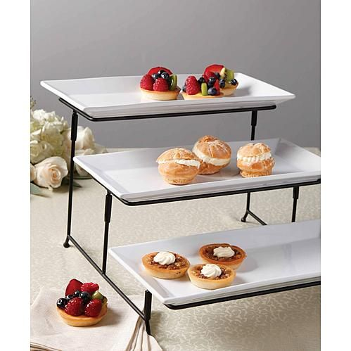 Gibson 3 Tier Plate Set With Metal Stand Cake Stand Set Tiered Stand