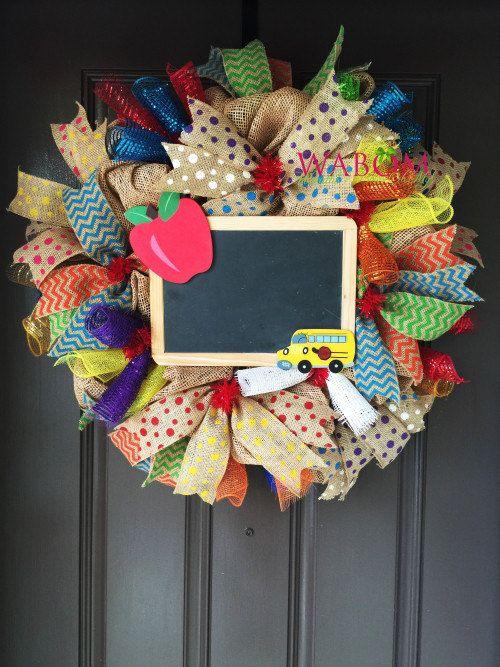Teacher Wreath, Deco Mesh Wreath, Back to School Wreath, Education Wreath…