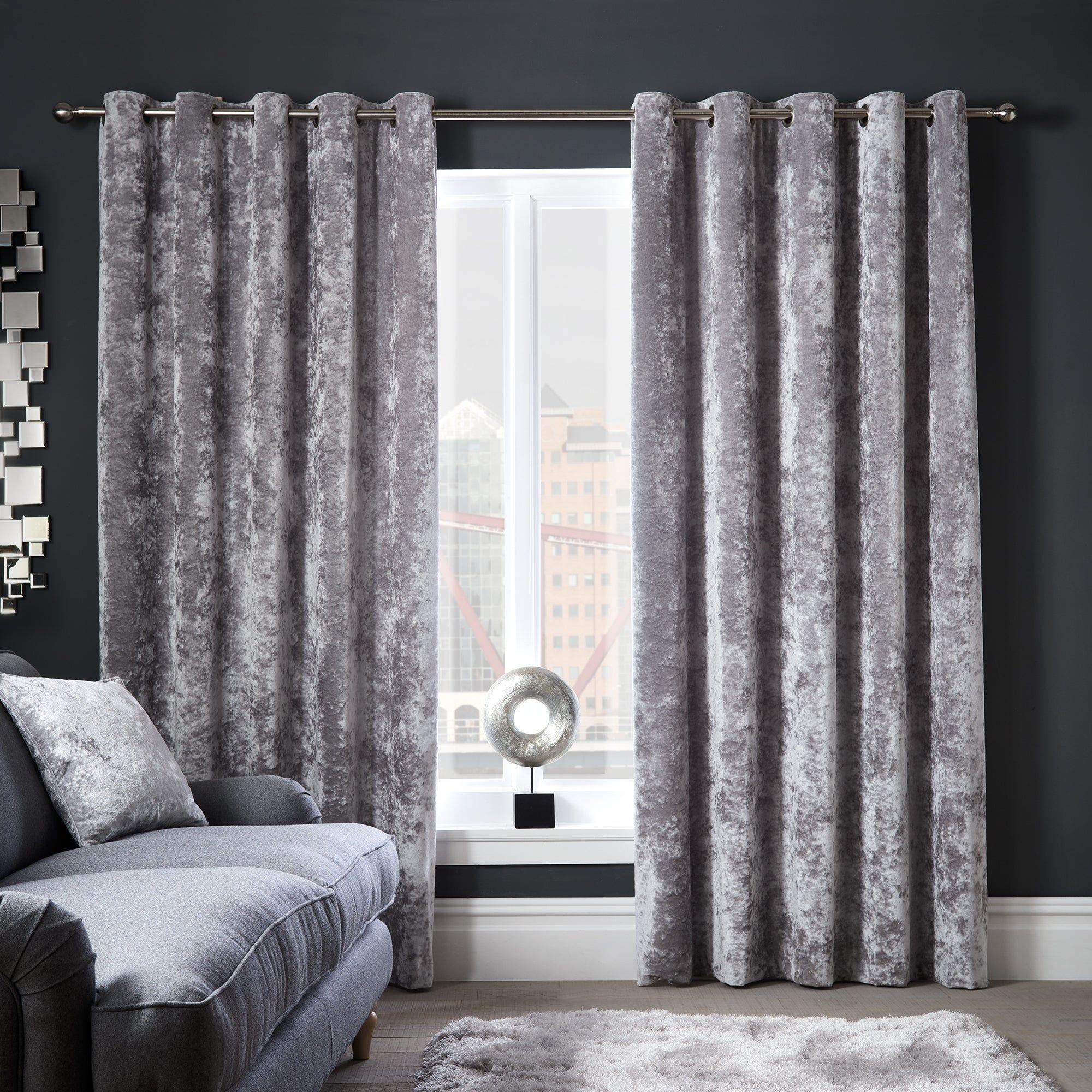 Crushed Velour Silver Eyelet Curtains Velvet Curtains Living Room Silver Living Room Curtains Living Room