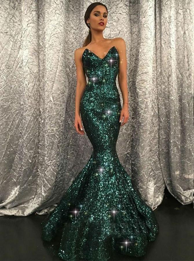 Mermaid Dark Green Prom Dress Sparkly Long Prom Dresses