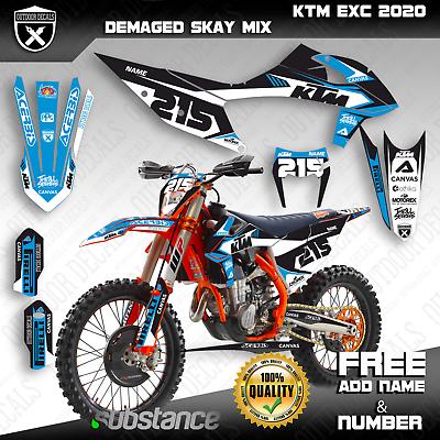 Ktm Exc Exc F Xc W Xcf W 125 150 250 300 350 500 Graphics Kit Decals 2020 Oem Ktm Exc Motocross Decals Ktm