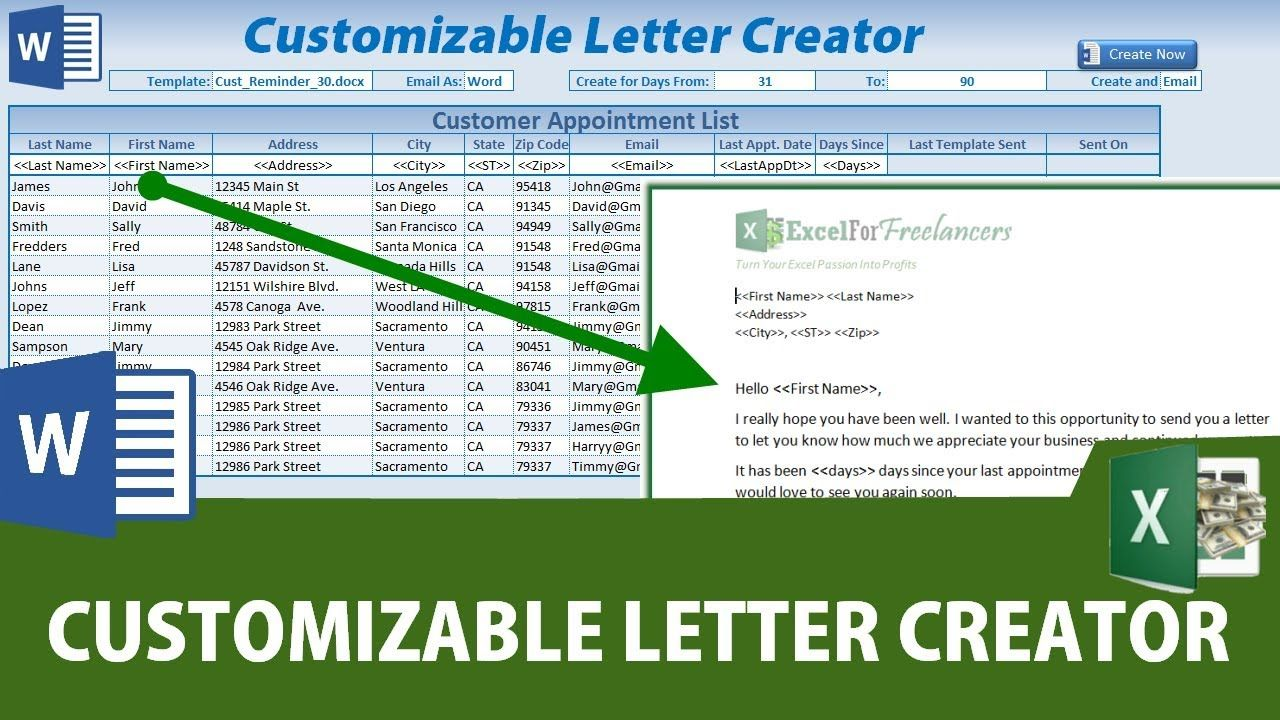 How To Create Custom Word Documents From Excel WITHOUT ...
